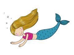 Beautiful little mermaid - stock illustration