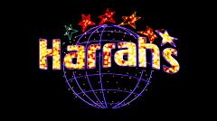 Harrah's Casino Sign at Night - Las Vegas Stock Footage