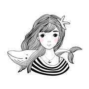 Beautiful young girl sailor with a whale and star in her hair Stock Illustration