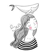 Beautiful young girl sailor with a whale Stock Illustration