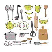 A set of kitchen utensils Stock Illustration