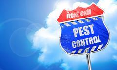 Pest control background, 3D rendering, blue street sign Stock Illustration