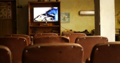 Old vintage cinema room in factory Stock Footage