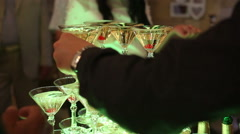 Waiter Giving The Champagne Stock Footage