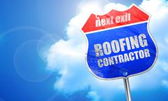 Roofing contractor, 3D rendering, blue street sign Stock Illustration