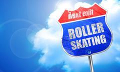 Roller skating, 3D rendering, blue street sign Stock Illustration