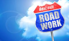Road work, 3D rendering, blue street sign Piirros