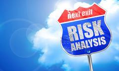 Risk analysis, 3D rendering, blue street sign Stock Illustration