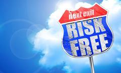 risk free, 3D rendering, blue street sign - stock illustration