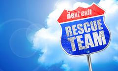 Rescue team, 3D rendering, blue street sign Stock Illustration