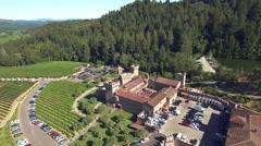 4K aerial view forward above castle castello di amorasa napa winery Stock Footage