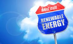 Renewable energy, 3D rendering, blue street sign Stock Illustration