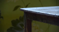 Old wooden chair in the room Stock Footage