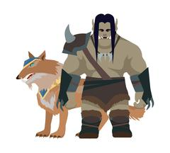 Cartoon Monster Orc Warrior with Wolf. Game Object Stock Illustration