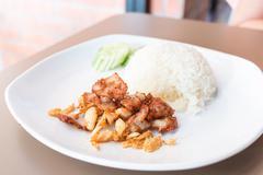 Pork stir-fried with garlic and peppercorns - stock photo