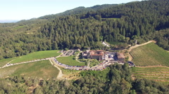 4K Aerial view toward castle pine forest napa winery Stock Footage