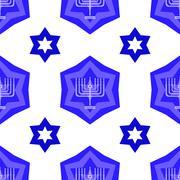 Blue David Star Seamless Background - stock illustration