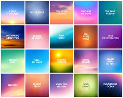 BIG set N3 of 20 square blurred nature backgrounds. With various love quotes Stock Illustration