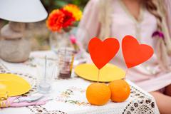 Romantic dinner on the nature concept - stock photo