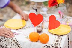Romantic dinner on the nature concept Stock Photos