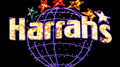 Zoom Out - Harrah's Casino Sign at Night - Las Vegas Stock Footage