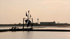 Wind energy Windmill pump sea water - stock footage