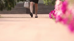 Slow motion of steps,  business woman returning after work. Stock Footage