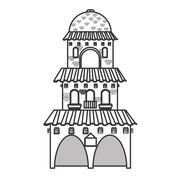 spanish colonial architecture icon - stock illustration