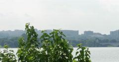 Washington DC City Landscape Bridge Over River Slow Pan 10bit, 4K Stock Footage