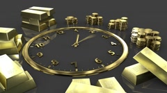 Time is money. Clock Time Lapse. Gold watches with gold bars Stock Footage