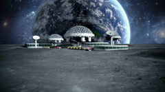 Futuristic city, base, town on moon. The space view of the planet earth. Stock Footage