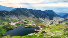 Balea Lake, seen from above. Glacial lake, on Transfagarasan highway in Carpa Stock Photos