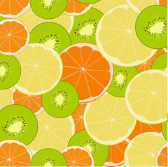 Seamless vector background with kiwi and citrus fruits. Lime, lemon, tangerin Stock Illustration
