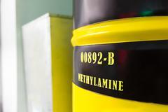 Barrel with methylamine Stock Photos