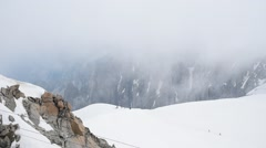 Climbing group walking on the top of snow slope of Mont Blanc, Chamonix, France, - stock footage