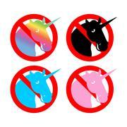 Ban unicorn. Stop magical animal. Prohibited sexual symbol LGBT community. St Stock Illustration