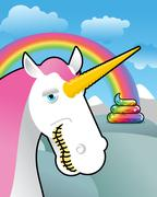 Unicorn on landscape. Turd unicorn. Rainbow of shit. Clouds and sky. Magic an Piirros