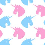Unicorn seamless pattern. Blue fabulous beast with horn ornament. Pink magic  Stock Illustration
