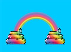 Turd unicorn and rainbow. Appearance of rainbow shit fabulous animal with hor Stock Illustration