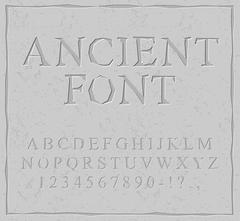 Ancient font. Carved on stone plate alphabet. Prehistoric alphabet. Antique s - stock illustration