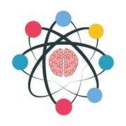 cartoon atom icon - stock illustration