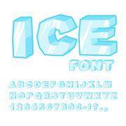 Ice font. Cold letters. Transparent blue alphabet. Frosty alphabet. frozen le Stock Illustration