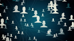 Connected avatars of men and women, illustration of network for communication Stock Footage