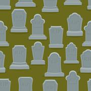 Tombstone seamless pattern. Old gravestone ornament. Cemetery background. rip Stock Illustration
