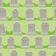 Old gravestone ornament. Tomb seamless pattern. Cemetery background. rip text Stock Illustration