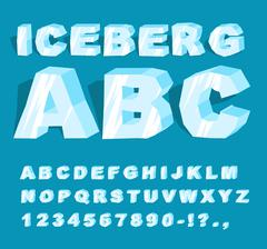 Iceberg font. Ice alphabet. Set of letters from cold ice. Frosty ABC. Blue tr Stock Illustration