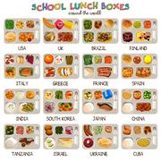 School Lunch Boxes Icons Stock Illustration