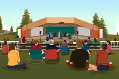 People in an Outdoor Concert Stock Illustration