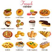 French Cuisine Icons Stock Illustration
