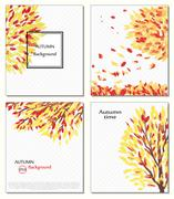 Fall of the leaves. Hello autumn.  are drawn. Backgrounds with hand   . Sketch Stock Illustration